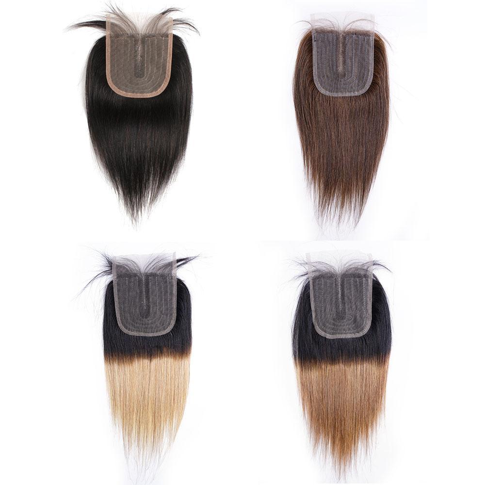 T 파트 4x1 레이스 클로저 스트레이트 인도 인간의 머리카락 자연 색상 어두운 갈색 # 2 # 4 T1B27 꿀 금발 T1B30 Auburn ombre weft