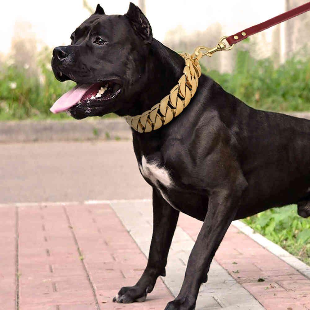 الكلب سلسلة الياقات الفولاذ المقاوم للصدأ الحيوانات الأليفة التدريب تخوق طوق للكلاب الكبيرة pitbull البلدغ الفضة الذهب عرض طوق 201105