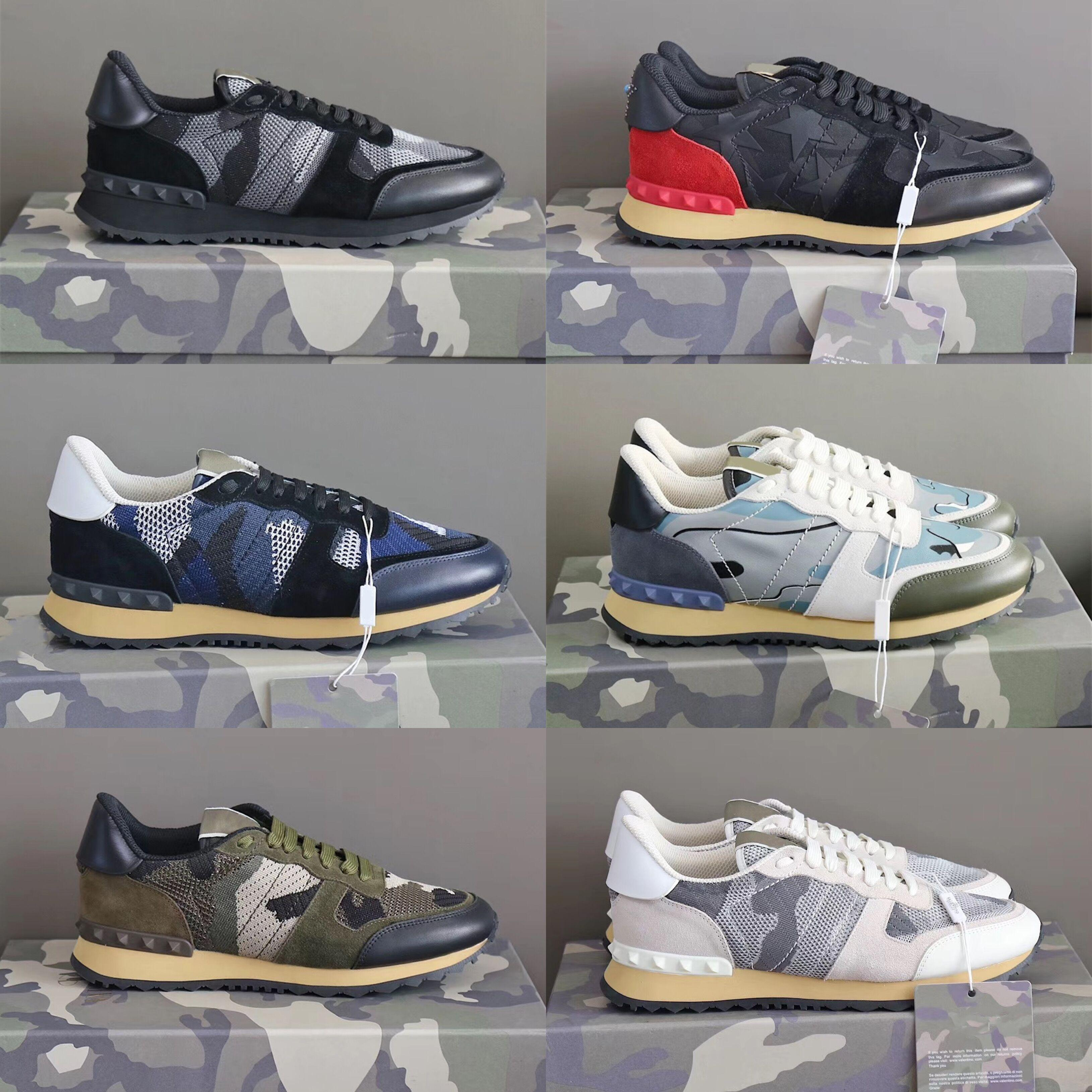 Moda de cuero de gamuza Stud Rockrunner camuflaje zapatillas de deporte zapatos hombres mujeres pisos lujo diseñador remache Rockrunner entrenadores zapatos casuales