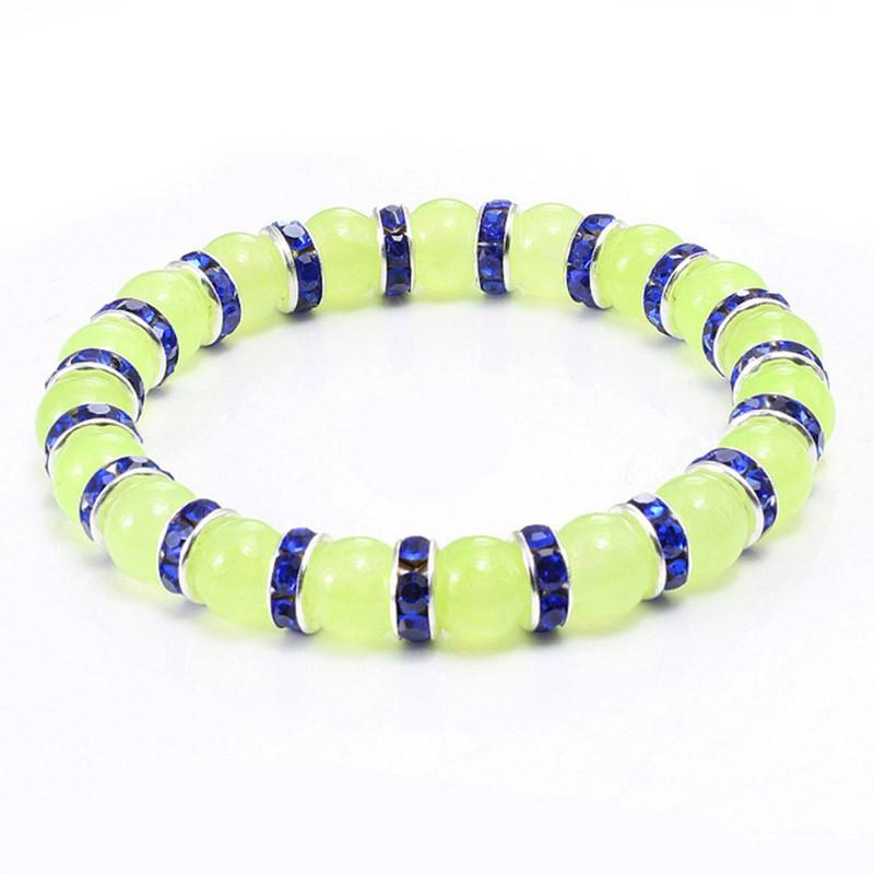 Natural verde ônix pedra frisada pulseira encanto mulheres strass estiramento de luxo strand braceletes homens oração esportes jóias