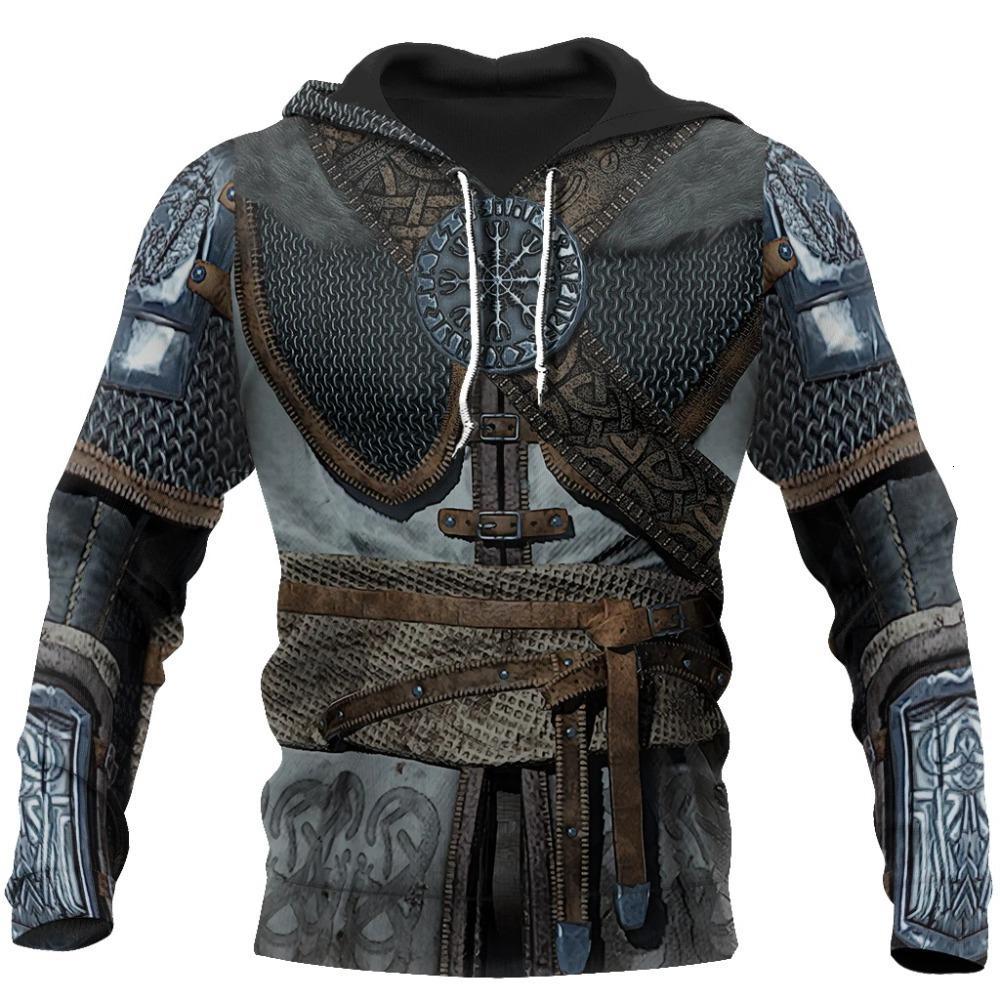 여성용 후드 스웨터 바이킹 Armor Tattoo 3D 모든 인쇄 된 남자 하라주쿠 패션 스웨터 유니섹스 캐주얼 지퍼 까마귀 0059 0Meu