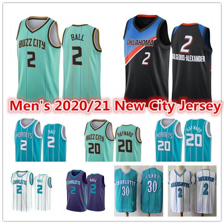 Lamelo 2 Ball Basketball Jersey Shai # 2 Gilgeous-Alexander Vintage Muggsy 1 Larry Bogues Johnson CharlotteHornets.Cidade alonzo 33 luto gordon 20 hayward