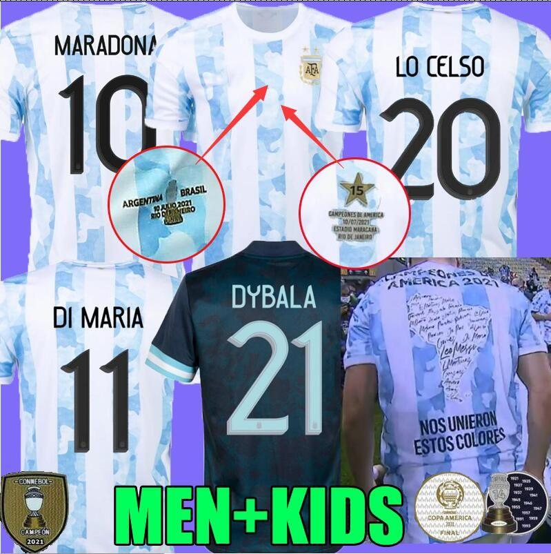 2021 Copa América Final Argentina Conceito Futebol Jerseys Maradona Special Badge Golden Messi Futebol Camisa 21 22 Di Maria Camisetas Aguero Icardi Ventilador Versão do Jogador