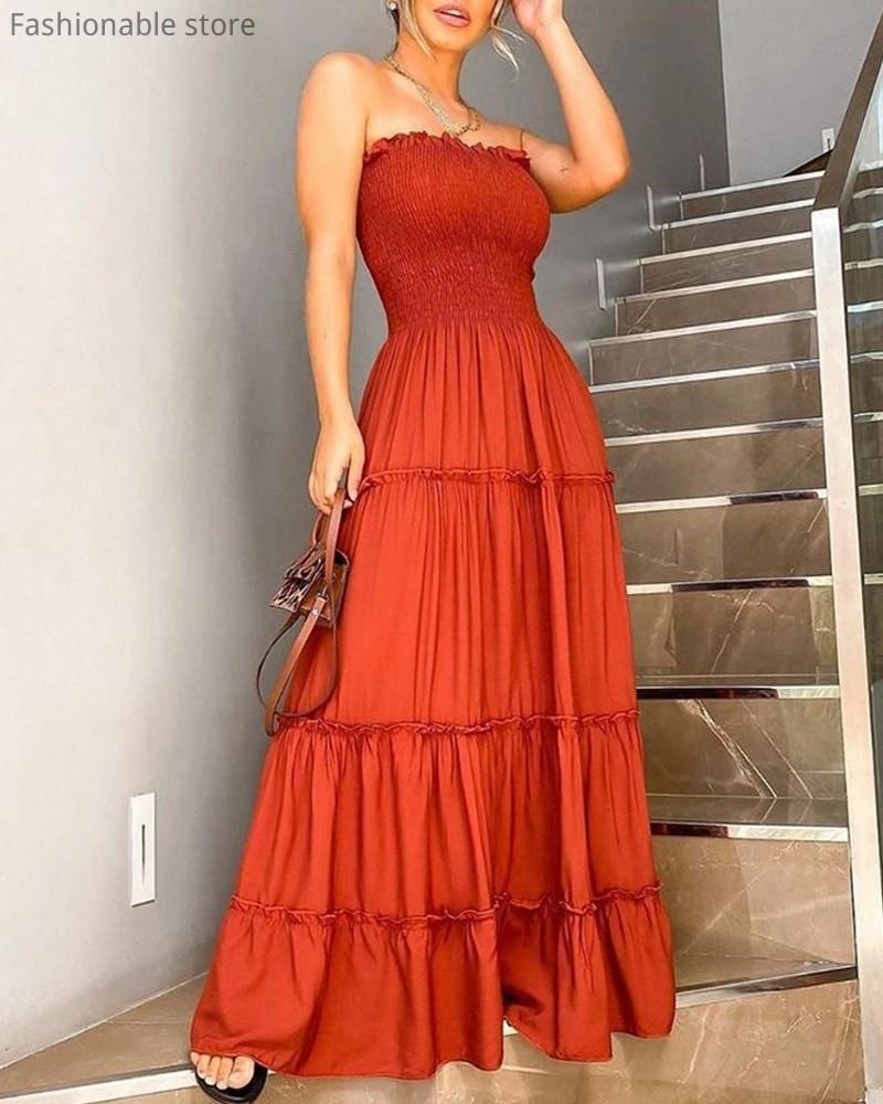 Robes sans bretelles femmes robes de couleur solide de volants longues design bandeau Maxi