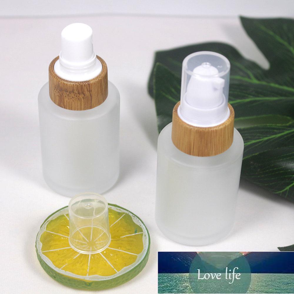 30ml clair verre givré bouchon de bambou bouteille de pulvérisation cosmétique naturel lotion pompe emballage emballage