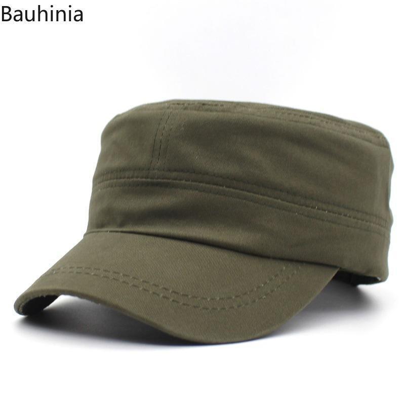 고품질 고전적인 남자 평면 뚜껑 군사 모자 캐주얼 여성 야구 모자 코튼 군대 모자 사관학 넓은 가장자리