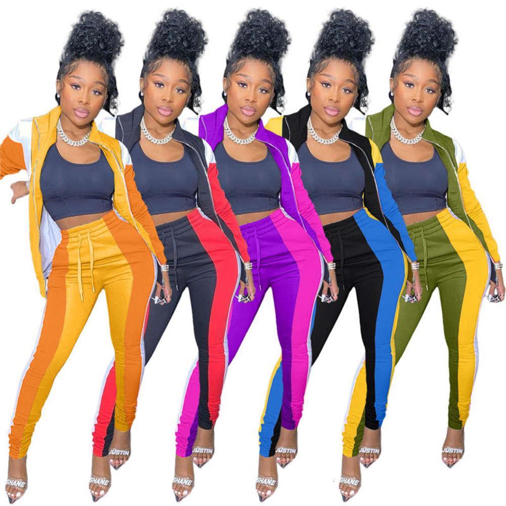Nuevo Cuello Lepal para mujer Dos piezas Set Casual Contrast Color 2pcs Set 2021 Diseñador Ropa para mujer