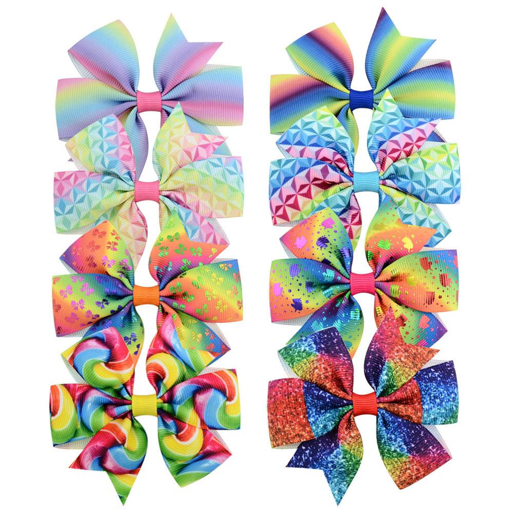 Baby Girls Bowknot Hairpins Unicorn Rainbow Grosgrain Ribbon Bows With Alligator Clips Childrens Hair Accessories Kids Party Boutique Bow Barrette KFJ215