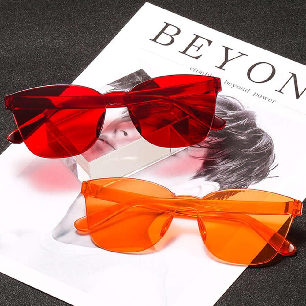Uma peça lente sol vidro mulheres transparentes de vidro de vidro de vidro estilo rimls quadrado barato sunglass