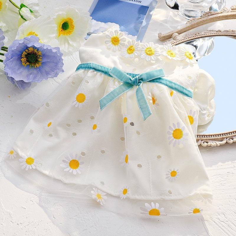 Ropa para mascotas Ropa de dibujos animados para perros Bowknot Vestidos Pequeño disfraz de girasol Imprimir Lindo Primavera Verano Niñas Cuello Blanco Perro
