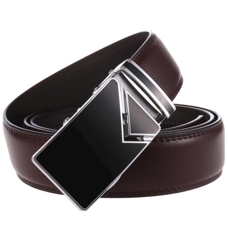 أحزمة جلد طبيعي للرجال عارضة الأعمال حزام التلقائي مشبك حزام حزام جينز رجل