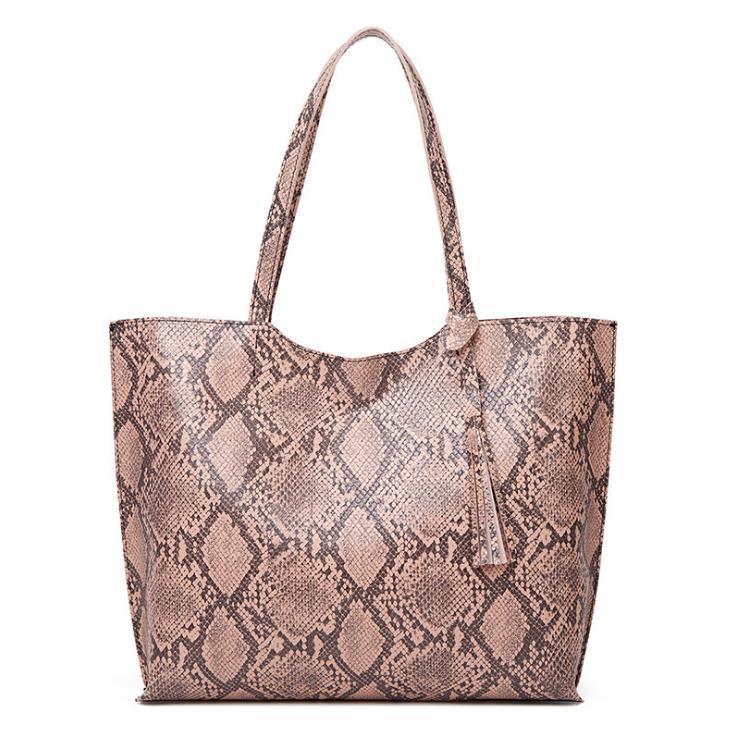 HBP de gran capacidad PU cuero femenino bolsa serpiente impresión europea y americana moda bolso de mano solo hombro tote