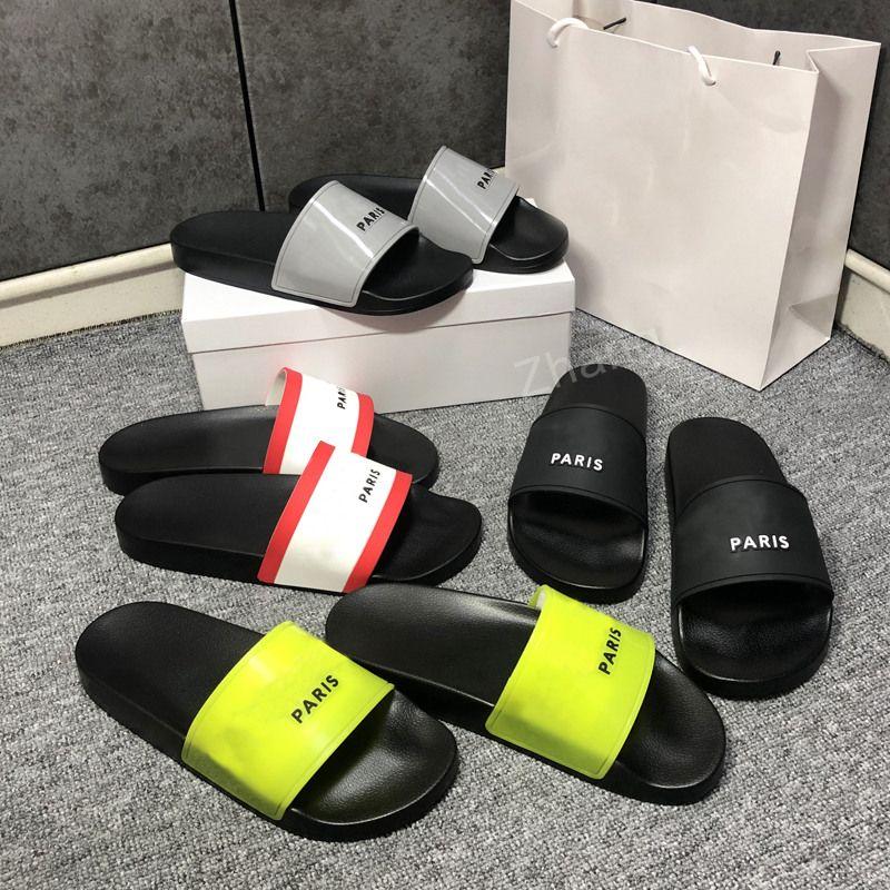 2021 Top Calidad para hombres zapatillas para hombre zapatos de sandalias Slide Summer Fashion Wide Flip Flips Flip con el tamaño de la caja