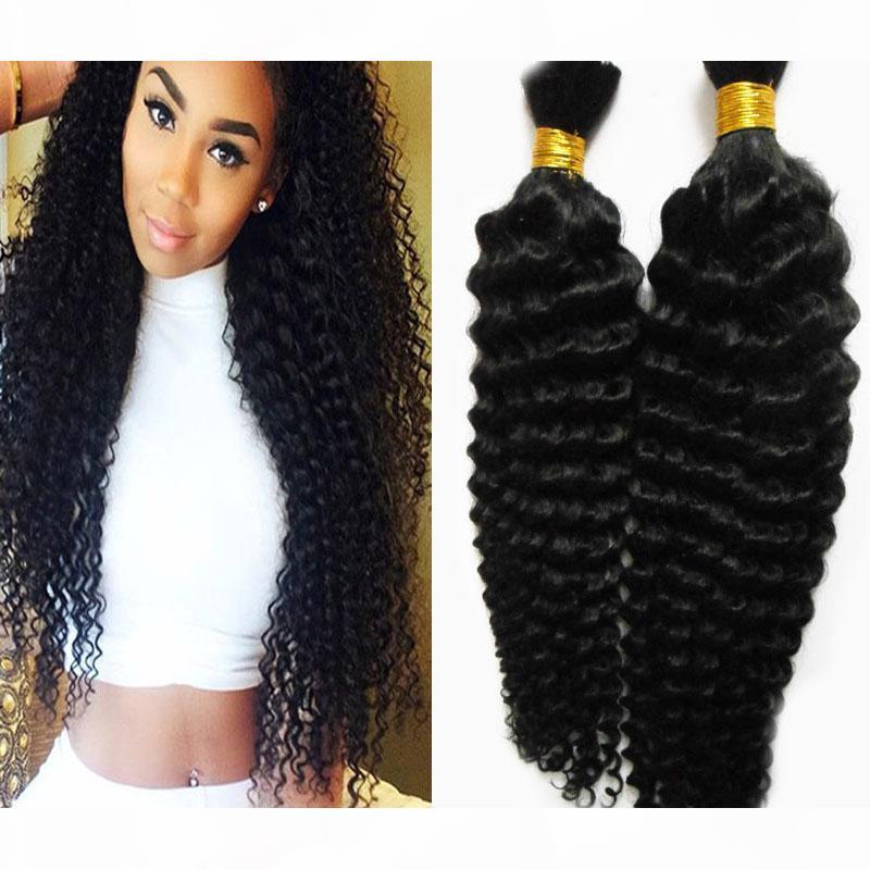 Nenhum cabelo humano de trama a granel para trançamento cor natural Bulk cabelo humano para trança 200g Curly trança cabelo humano sem trama 2 pcs