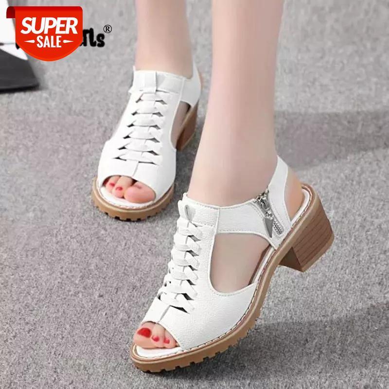 Vintage elegante meados de salto quadrado feminino sandálias de verão PEEP TOE PEEP TIFED SIDE SLOP Design Sapatos de mulher sapatos de mulher Gota de transporte # WV4O