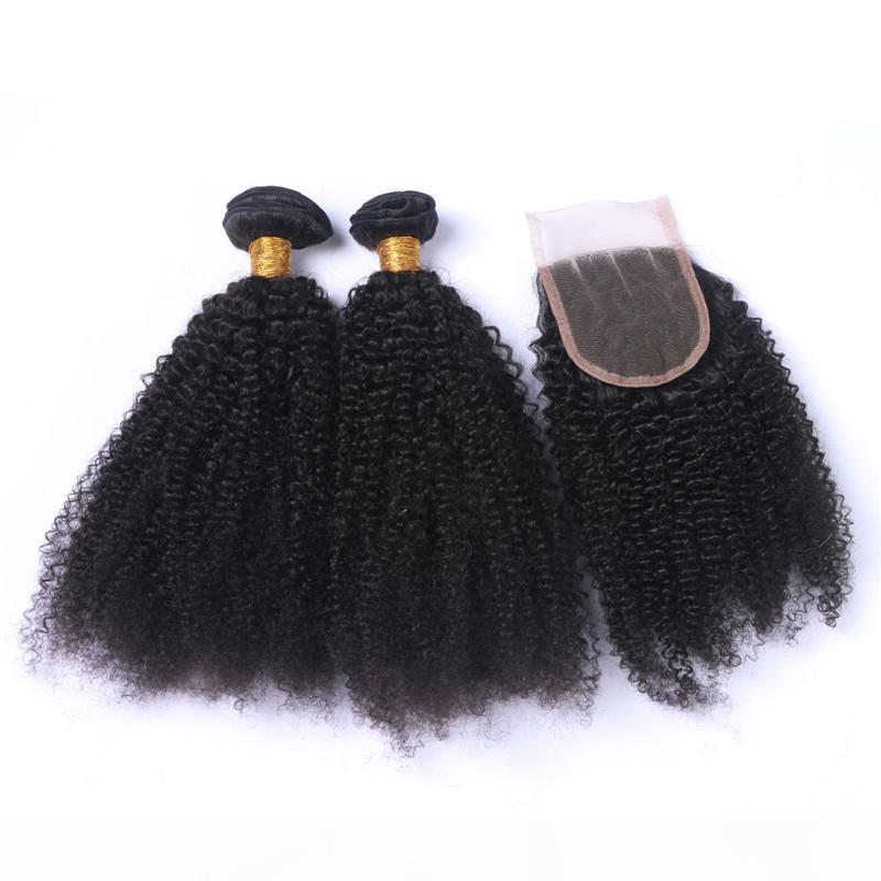 Virgem peruana peruana Cabelo humano encaracolado 3bundos com 4x4 fecho de renda 4 pcs lote Afro Kinky Curly Human Weaves com fechamento superior