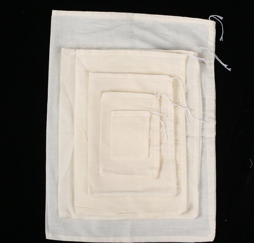 Portable 100pc Cotton Garza riutilizzabile borsa con coulisse Confezione da bagno Sapone da bagno Filtro a base di erbe Regalo di tè