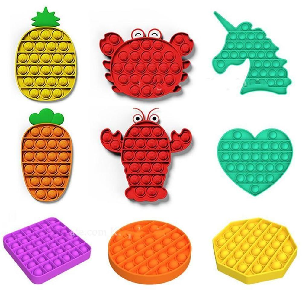 US Stock 2021 Push Bubble Fidget Toys pop it Autism Special Needs Stress Reliever Helps Relieve Stress and Increase Focus Soft Squeeze Toy