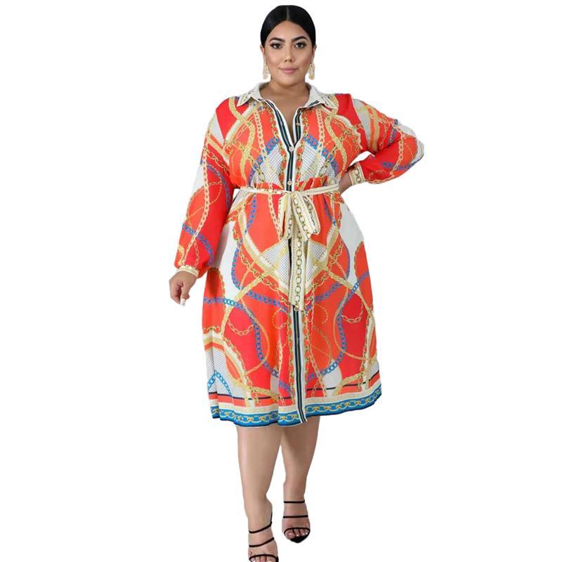 Vestido de camisa para mujer con talla grande Vestidos casuales de manga larga con encaje con cordón suelto vestido grande gasa al por mayor envío de gota x0521