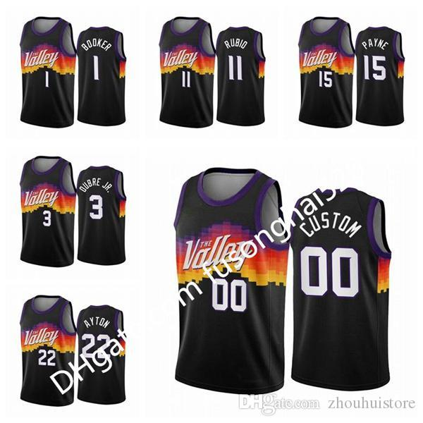 Billig gedruckte benutzerdefinierte männer frauen kinder devin 1 booker ricky ricky ricky black city chris paul 2020-21 benutzerdefinierte basketball jersey