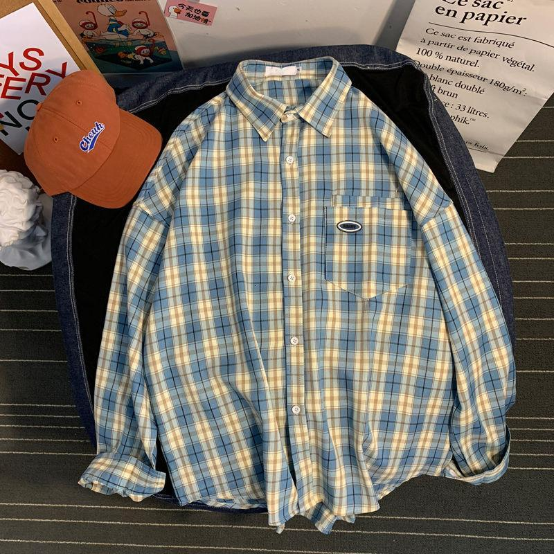 격자 셔츠 남성의 모든 일치 캐주얼 느슨한 코트 클래식 포켓 옷깃 긴 소매 탑 바닥 셔츠 남성 의류 사계절