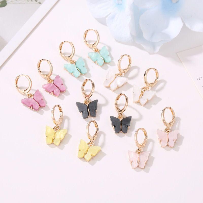 Chic Fashion Butterfly Small Gold Hoop Earrings for Women 2020 Colorful Acrylic Boho De Mujer Earings Hoops Ear Rings Jewelry 493 Q2