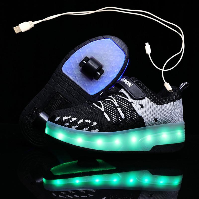 Enfants Deux roues Baskets lumineuses rougeoyantes Noir Blue LED laminoir lampe à rouleau de patin de skate Kids Garçons Girls USB Charge