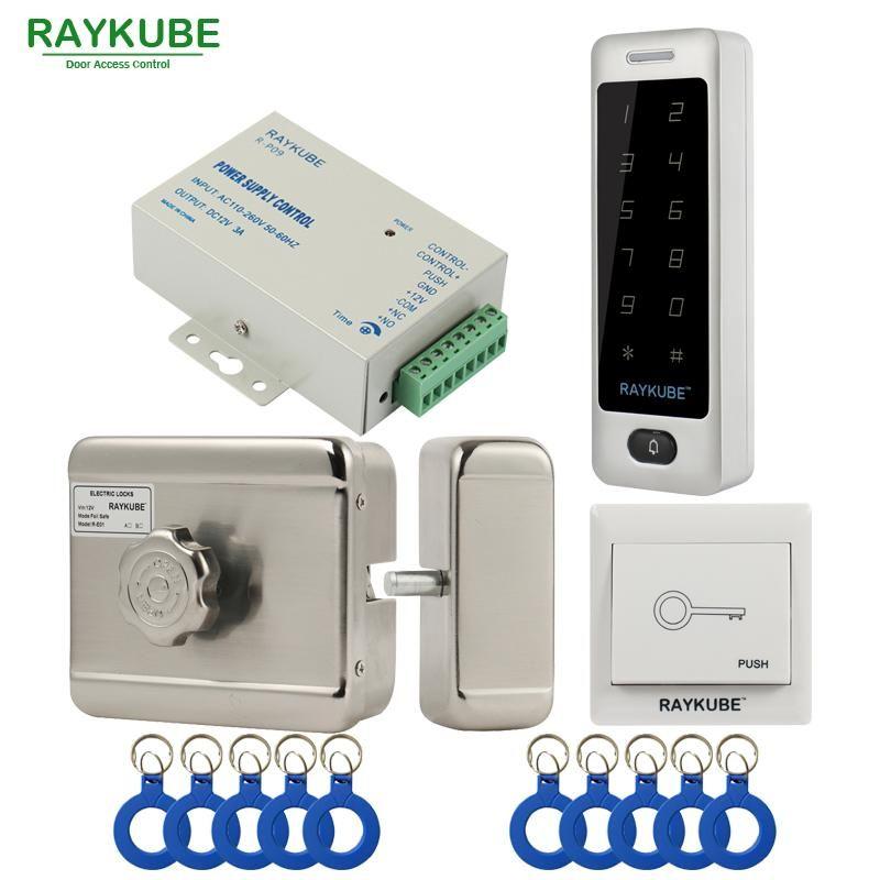 Raykube Motor Electric Lock Access Access System Kit + Metal Toque Senha Teclado + Botão de Saída + ID KeyFobs Segurança da Porta