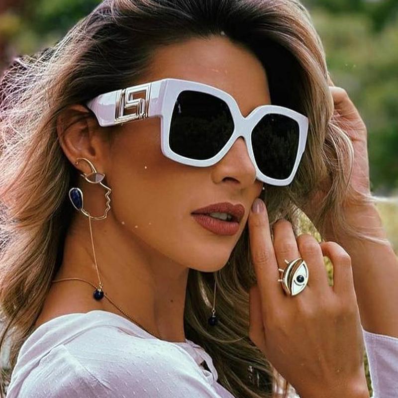 Белые черные квадратные солнцезащитные очки для женщин Винтаж негабаритный градиент элегантные солнцезащитные очки женские оттенки красные