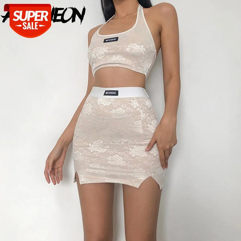 2021 verão primavera y2k moda laço branco bodycon 2 peças conjuntos vintage 2000s backless halter tops e slit mini saias co-ord terns su # U591