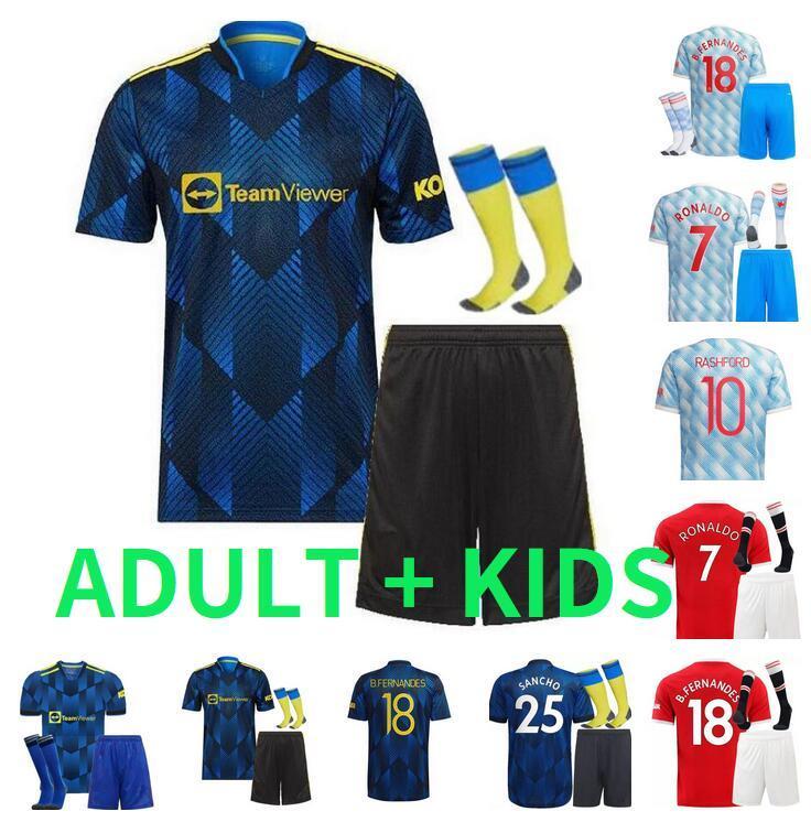 Ronaldo Sancho Shaw R.Varane Soccer Jerseys 2021 2022 Pogba Cavani van de Beek B. Fernandes Rashford Lingard Greenwood Martial Football Hemd 21 22 Erwachsener Mann + Kids Kit