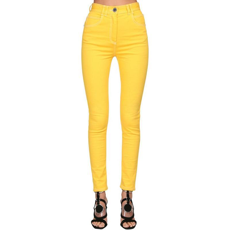 2021 Haute Qualité Dernier créateur de mode Top de femmes de couture Contraste Contraste Denim Jeans Pantalon crayon jaune