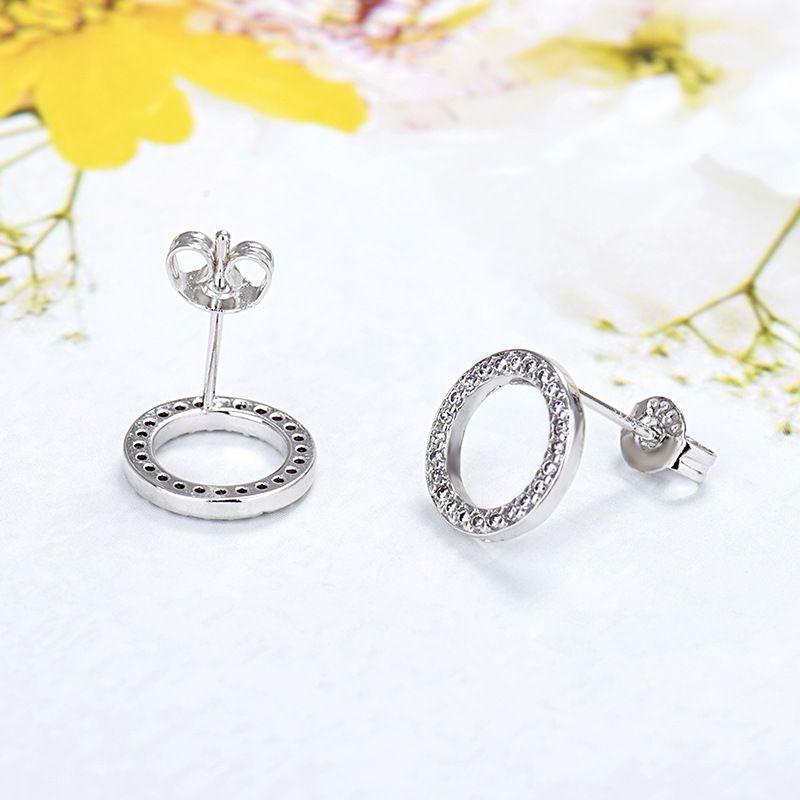 새로운 정통 925 스털링 실버 원형 스터드 귀걸이 Pandora CZ 다이아몬드 여성 패션 귀걸이 77 Q2