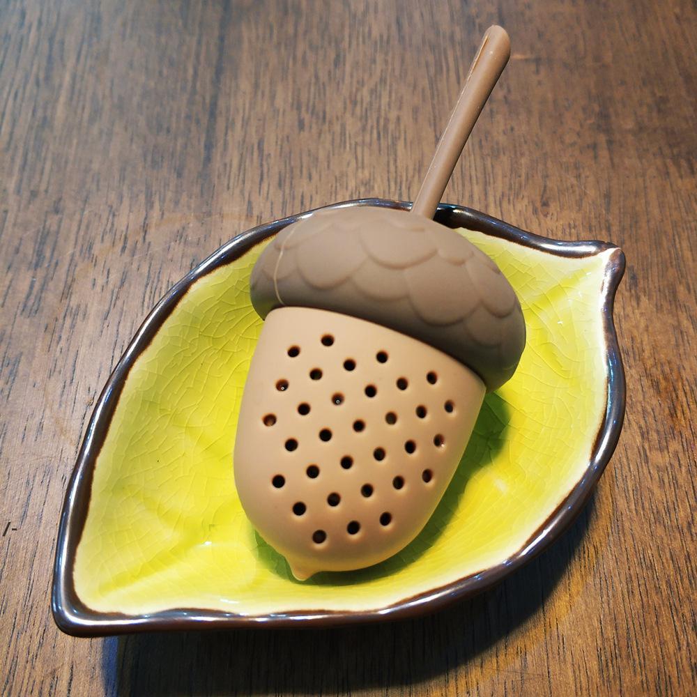 Bellota forma de silicona té infusor herramientas de grado alimenticio reutilizable tés colador hierba hoja filtro vacío tés bolsas cocina accesorios caseros NHE8116