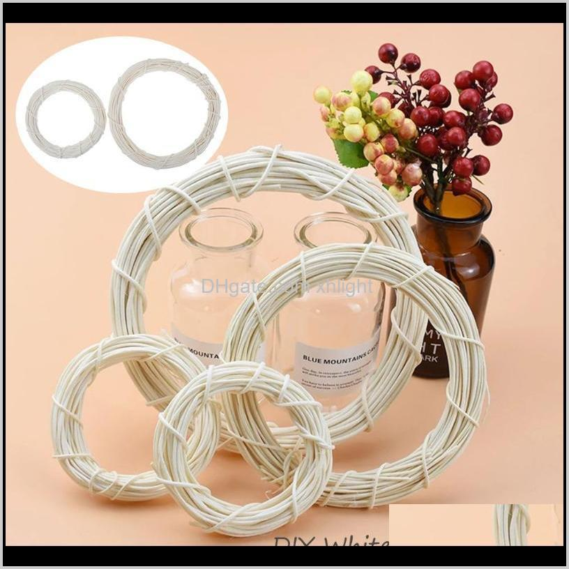 Flowers Wreaths Festive Supplies & Garden Drop Delivery 2021 15/20Cm White Rattan Ring Artificial Wreath Hanging Garland Dried Flower Frame H