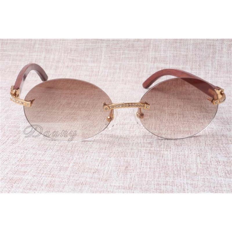 Mode ronde Confort rétro Diamant T naturel Vérifier le motif miroir jambe lunettes de soleil Verres de qualité Taille