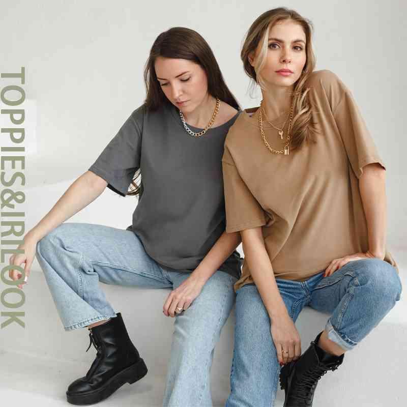Toppies 2021 Rahat Boy T-Shirt Kadınlar Pamuk Punk O-Boyun Kısa Kollu Haki Tee Kadın Giysileri Katı Renk 210312