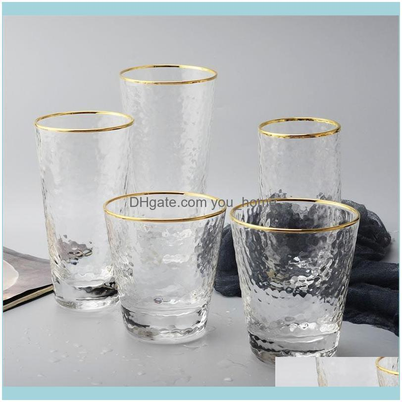 Mutfak, Yemek Bar Ev Gardengold Kakma Kenar Cam Fincan Kahve Süt Çay Viski Köklesiz Şarap Su Bardakları Içme Yaratıcı Hediye Dr