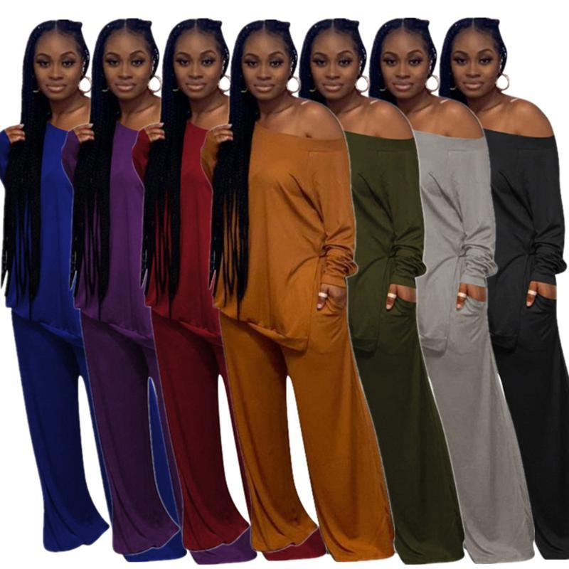 Women's Two Piece Pants One Shoulder Femme Full Sleeve Loose Tshirt Top And Wide Leg Trouser Pant Set Women Solid Side Hight Split Clothing