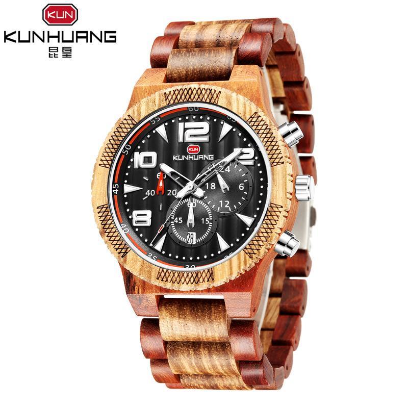 Marka Moda Ahşap ve Paslanmaz Çelik Saatler Erkek Chronograph Saatı Aydınlık Hands Stop İzle Bırak