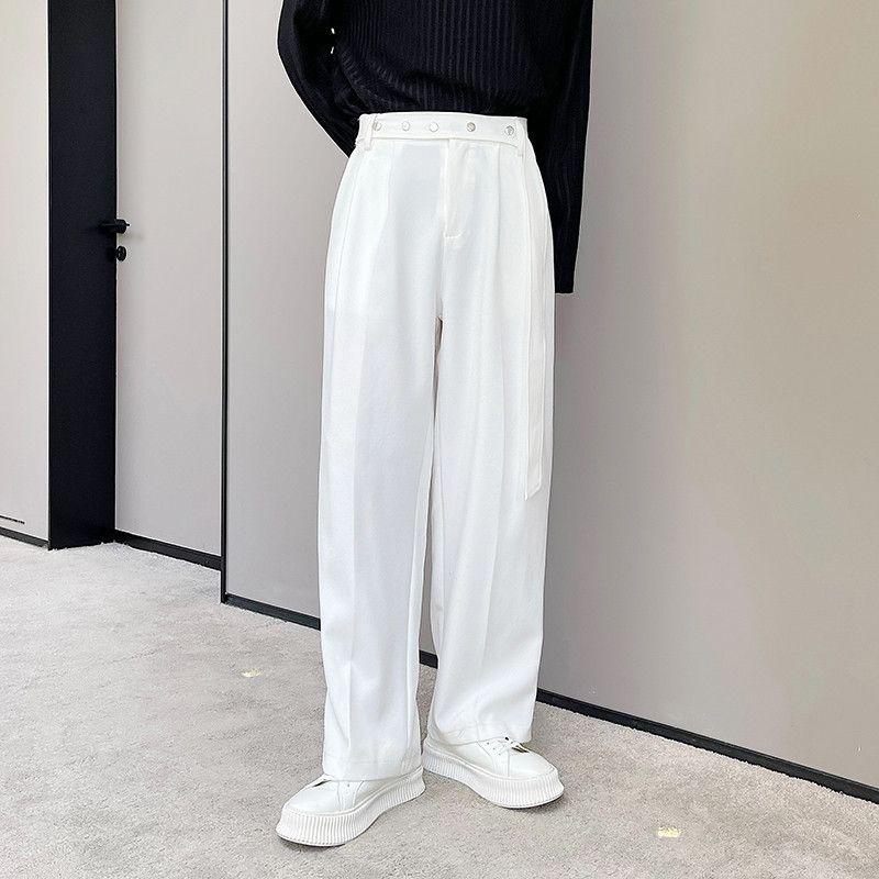 남자 느슨한 넓은 다리 정장 똑 바른 바지 남성 streetwear 빈티지 패션 블랙 화이트 바지 긴 바지 남자를위한