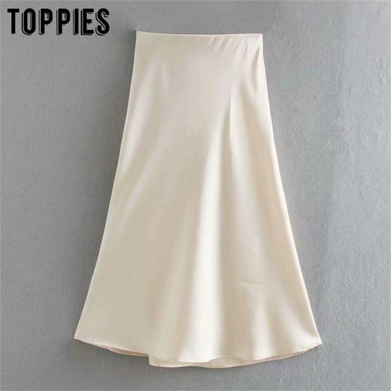 White Satin Midi Faldas de cintura alta rosa A-Line Faldas para mujer de verano Falas Streetwear 210324