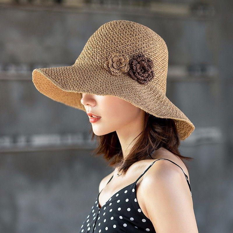 Sombrero de paja femenino verano plegable playa playa sombreros vacaciones sombrero sombrero sol gorra estilo coreano marea gorras salvajes al borde ancho