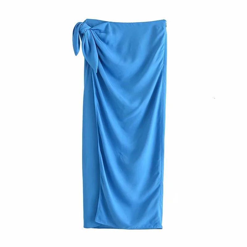 Skirts Nlzgmsj za feminino nova moda chique com nó toque macio plissado split midi saia ruched saias elegantes 06 37FC