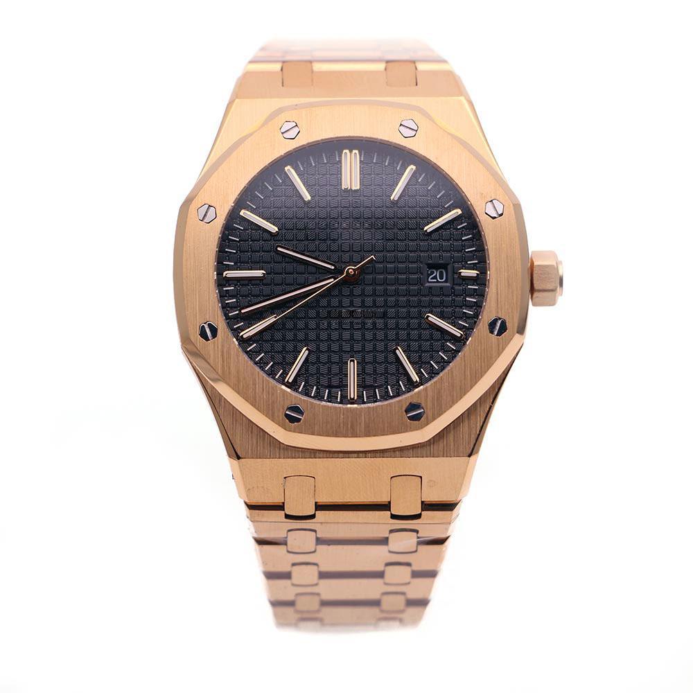 Real Limited Relógio de Pulso Automático 42mm Index Dial Blue Dial Transparente Vestido Mecânico de Luxo Selfwinding 15500 15400