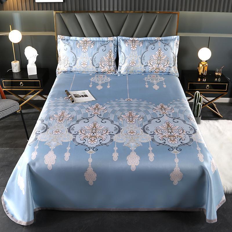 Lençóis Conjuntos 100% poliéster luxo 3 pcs folha plana conjunto de esteira de verão lavável Dobrável dobrável ar condicionado cama queen size