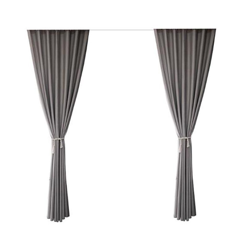 Modern Blackout Cortinas para sala de estar quarto tratamento de janela cortina sólida cortina desenhada cinza escuro