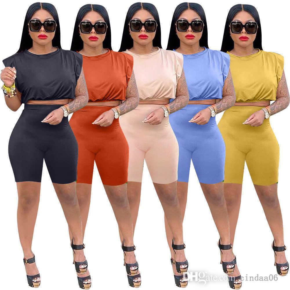 Kadın S Giyim Iki Parçalı Pantolon Set Yaz Eşofman Omuz Pedi Kolsuz Tayt Moda Rahat Takım Elbise Katı Renk Elastik Ayar Kıyafetler