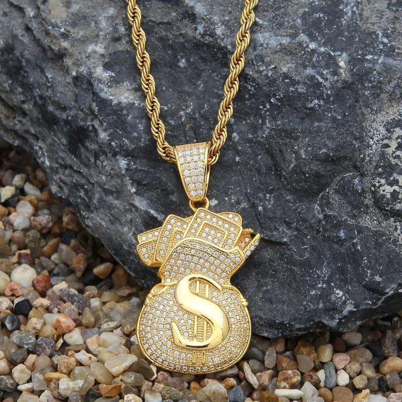 HIP HOP MODE CUBE ZIRCON USD Sac D'argent Pendentif Collier Gold Hommes Exagération Boutique Bijoux Accessoires Colliers