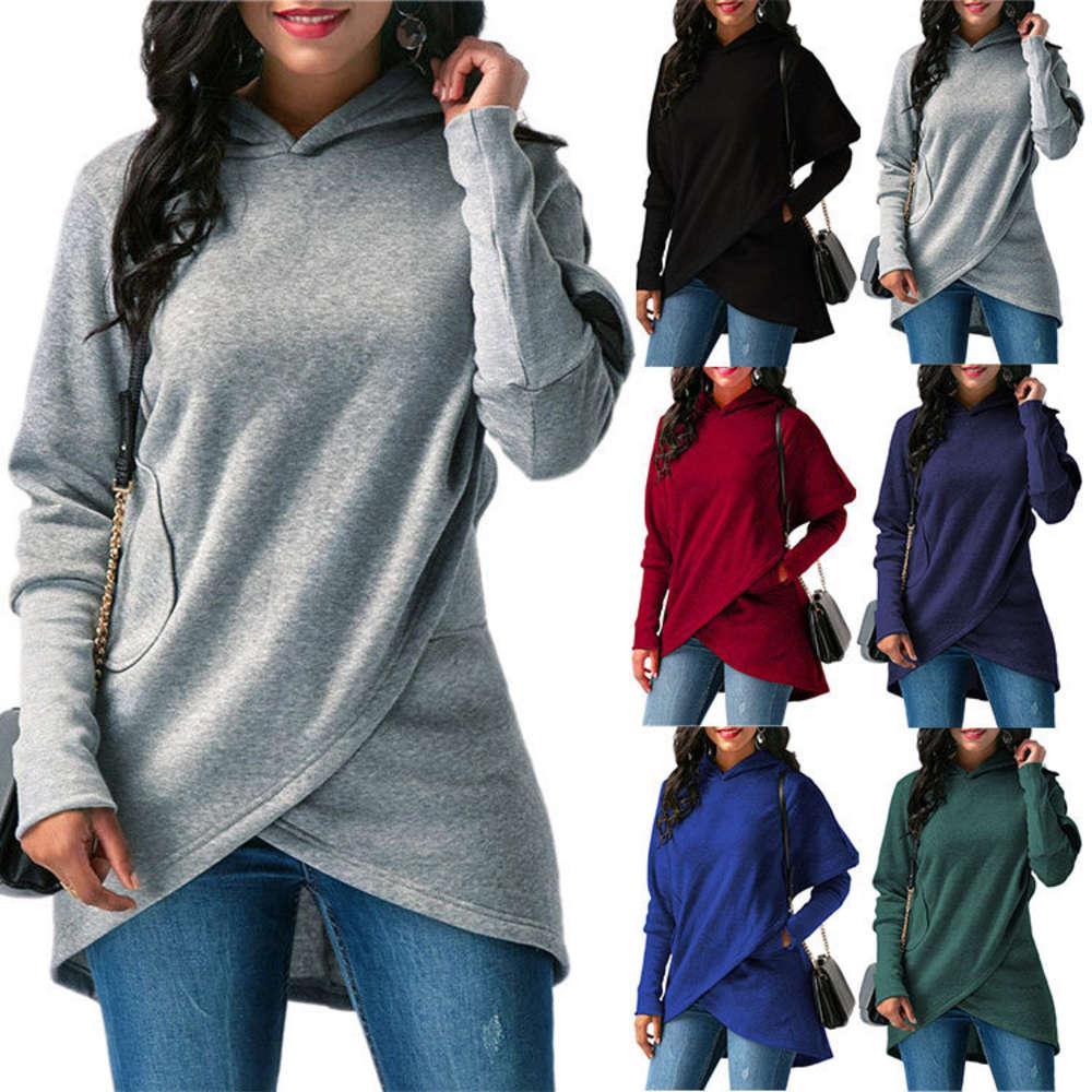 Hoodies outono novas mulheres soltas encapuçadas de manga comprida de manga irregular